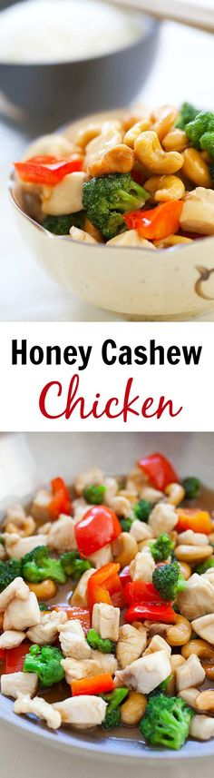 Honey cashew chicken made with chicken and cashew nuts in a savory honey sauce. Easy honey cashew chicken recipe that takes 15 minutes to make | rasamalaysia.com