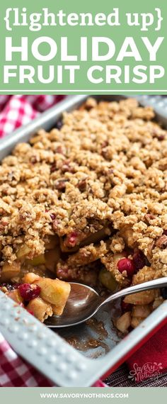Apple crisp gets an upgrade with pears and cranberries! This healthy holiday fruit crisp is the perfect breakfast or lighter dessert for fall and winter. Easy to make for a crowd on Thanksgiving or Christmas! Nicely spiced up with cinnamon and ginger and sweetened with maple syrup.
