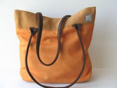 orange handbag  orange tote shoulder bag with by LIGONaccessories,