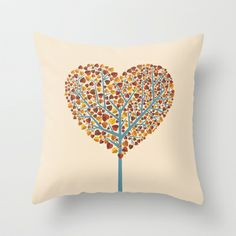 Tree of love Throw Pillow by kuss kuss - $20.00