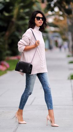 Women Casual Outfit to Wear Fall and Winter - Fashion Looks 2019 Cute Oversized Sweaters, Oversized Sweater Outfit, Sweater Outfits, Turtleneck Outfit, Fall Winter Outfits, Autumn Winter Fashion, Fall Fashion, 20s Fashion, Fashion 2016