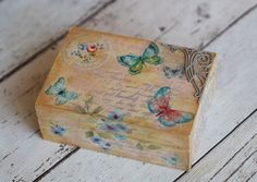 Your place to buy and sell all things handmade Small Wood Box, Home Decor Boxes, Small Jewelry Box, Jewellery Boxes, Wood Boxes, Jewelry Organization, Organizers, All Things, Decoupage