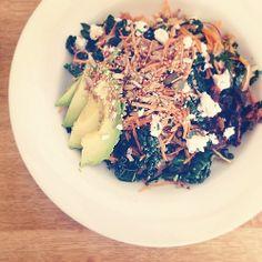 Raw kale salad action. #recipe #salad #meal #healthy #healthyeating #eathealthy #kate #avocado #healthyfats