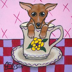 """Teacup Chihuahua"" New Original Painting  Julie Ellison Art"