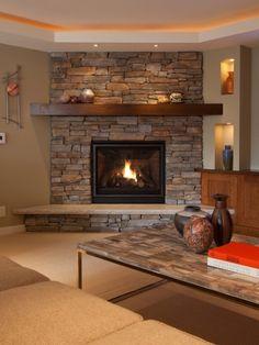 Угловой камин в интерьере (50 фото): стильные варианты и красивое оформление
