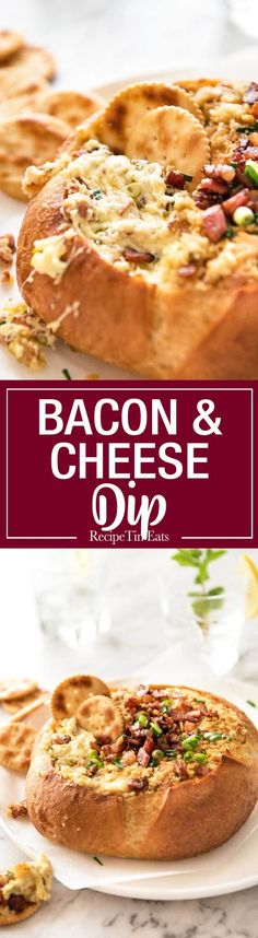This Cheese and Bacon Dip is creamy, cheesy and loaded with bacon! Super easy to make, made with cream cheese. www.recipetineats.com