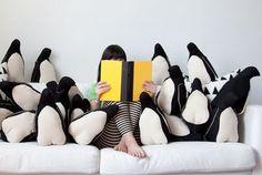 idea, stuff, book, cushion, hous, penguins, throw pillows, penguin pillow, kid