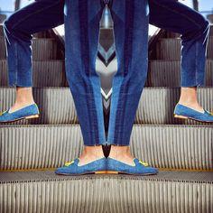 #slippers elaboradas con tejido vaquero y acabados en  amarillo 🌼