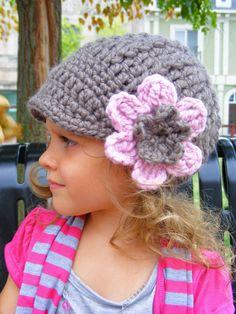 Toddler Hat, 1T to 2T Toddler Girl Crochet Visor Hat Flower Beanie - Taupe, Pink Blossom Crochet Flower Visor Beanie for Toddler Girls on Etsy, $36.07 CAD