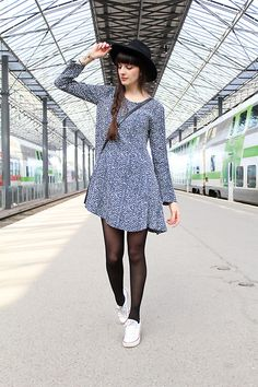 Robe de jour   #myfashionlove #look #robe #gris #chapeau #LookChic #actumode #BelledeJour #ootd ♥myfashionlove.com♥