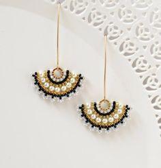 Wedding earrings for brides pearl, Swarovski pearl bridal earrings, Beaded fan earrings, Long earrings for weddings, Unique bridal jewelry Pearl Earrings Wedding, Prom Earrings, Bride Earrings, Pearl Bridal, Wedding Jewelry For Bride, Bridal Jewelry, Gold Statement Earrings, Gold Earrings, Funky Earrings