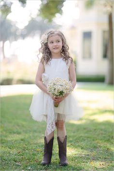 White #flower #girl #dress with cowboy boots