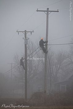 I am a lineman./Atmospheric Scene of Line Crew in the Fog/Landscape/Fine Art Photography Print Power Lineman, Water Powers, Glass Insulators, Utility Trailer, Fine Art Photography, Cute Puppies, Life Is Good, Scene, Landscape