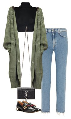 featuring Acne Studios, WearAll, Yves Saint Laurent and Gucci Chic Outfits, Spring Outfits, Fashion Outfits, Fashion Tips, Girl Fashion, Womens Fashion, 90s Fashion, Retro Fashion, Look Girl
