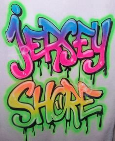 Airbrush JERSEY SHORE Graffiti Style Airbrushed T Shirt #FOLJeerzeesorGildan #Airbrushed