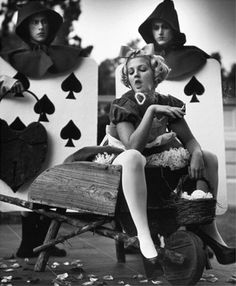 Drew Barrymore as Alice, I actually love the card guys behind her....more impressive but what a great look to go as all 3!
