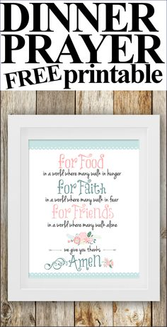 Dinner Prayer Free Printable - How to Nest for Less™ Dinner Prayer, Prayer Box, Prayer Verses, Bible Verses, Quotes To Live By, Me Quotes, Sunday Quotes, Printable Quotes, Wise Words