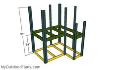 This step by step diy woodworking project is about outdoor fort plans. I have designed this super simple fort so you can build one in the weekend, using basic materials and tools. Backyard Fort, Kids Backyard Playground, Backyard For Kids, Playground Ideas, Simple Playhouse, Wooden Playhouse, Forts For Kids Outdoor, Outdoor Play, Woodworking Projects Diy