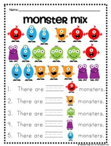 Monster Math Worksheets - Synhoff