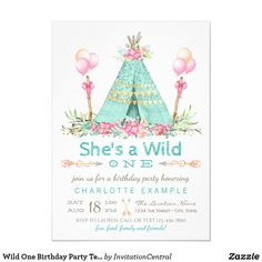 Wild One Birthday Party Teepee First Birthday Invitation First Birthday Cards, First Birthday Themes, Girl First Birthday, First Birthdays, Birthday Ideas, Baby Birthday, Birthday Banners, Birthday Crafts, Birthday Cake