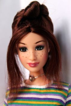 Barbie-Doll-Gillian-Fashion-Fever-Brown-Hair-Freckles-Redressed-Rare