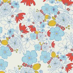 Art Gallery - Meadow Collection by Leah Duncan - Leas Bloom in Clearwater - Fat Quarter