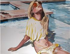 Framed original oil painting on a treated aluminium panel by uber cool contemporary artist Amanda Mulquiney-Birbeck. 35 cm x 45 cm x 18 inches). Framed in a custom ash grey tray frame. Original Paintings, Original Art, Slim Aarons, Limited Edition Prints, Drawing S, Online Art Gallery, Contemporary Artists, Art For Sale, Amanda