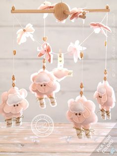 Baby Crib Mobile Sheep, Baby Girl Mobile, Baby Nursery Mobile Girl, Baby Mobile Hanging, Pink Nursery Decor, Sheep Mobile, FREE SHIPPING