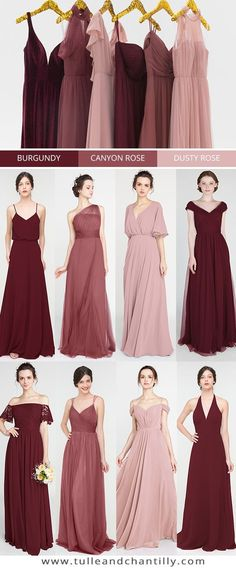 Burgundy, Canyon Rose, Dusty Rose wedding color inspiration with bridesmaid dres. - Burgundy, Canyon Rose, Dusty Rose wedding color inspiration with bridesmaid dresses 2019 - Dusty Rose Bridesmaid Dresses, Dusty Rose Wedding, Bridesmaid Dress Colors, Wedding Bridesmaids, Wedding Dresses, Inexpensive Bridesmaid Dresses, Dusty Rose Dress, Wedding Entourage Dress, Wedding Gold