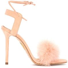 Charlotte Olympia Salsa 110 Feather-Trimmed Suede Sandals ($445) ❤ liked on Polyvore featuring shoes, sandals, suede sandals, charlotte olympia sandals, charlotte olympia, suede shoes and charlotte olympia shoes