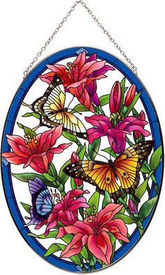 Butterflies Stained Glass Art Panel
