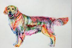 Golden Retriever Art Print LABRADOR RETRIEVER Yellow Labrador Retriever Poster Watercolor Painting Dog  LABRADOR Illustration Animal Art by ElenTsArt on Etsy
