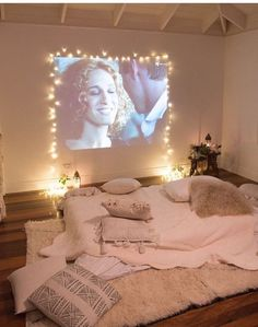Projector and fairy lights to create a den like feel
