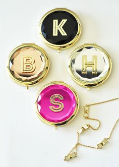 Birthday gift for her 30th birthday (or any age!) - Personalized Gold Mirror Compacts by Mod Party