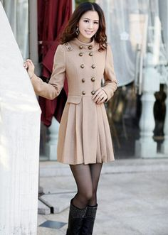 2012 NWT Lady Wool Blends Double Breasted Long Fitted JACKET coat Trench Blazer