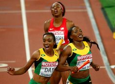 World Athletics Championships 2015: day nine – in pictures   Sport   Novlene Williams-Mills of the winning Jamaica team is joined at the finish line by Christine Day