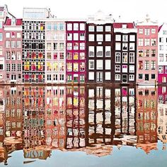 Make like @tekwani and watch the world through rose-colored houses. #regram Such a beautiful photo of Amsterdam!