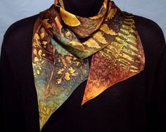 Botanical Hand Dyed Long Silk Scarf by HartzSilk on Etsy, $55.00