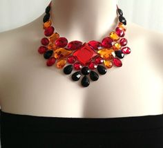 bib necklace  red orange and black rhinestone 3 color by BienBijou, $19.99