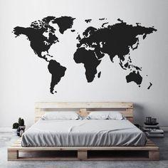 Mapa de arte de la pared etiqueta de mapa del mundo mundo