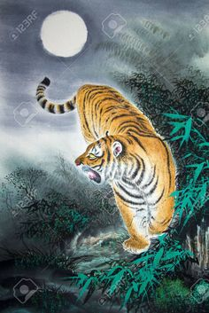 Picture of Chinese traditional painting of tiger stock photo, images and stock photography. Forrest Tattoo, Chinese Tiger, Tiger Artwork, Fabric Wall Art, Banner Printing, Traditional Paintings, Image Photography, Wall Murals, Canvas Wall Art