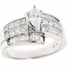 2-Carat T.W. Baguette, Princess and Marquis White Diamond 14-Carat White Gold Engagement Ring
