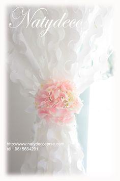 Rideau de camouflage blanc des 2 côtés et embrasse tête d hortensia en vente sur http://www.natydecocorse.com