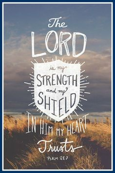 Psalm 28:7  The Lord is my strength and my shield in Him my heart trusts.