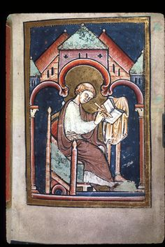 Yates Thompson 26, f. 2.  Miniature of a scribe writing at a desk (thought to be Bede), from the preface to Bede's prose Life of St Cuthbert.   Origin: England, N. (Durham)