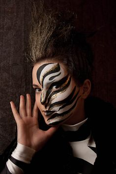 Winter Africa by *StasaS Definitely going to try to copy this look. This is so gorgeous! Zebra Makeup, Makeup Art, Halloween Make Up, Halloween Face Makeup, Halloween Karneval, Fantasy Make Up, Maquillaje Halloween, Theatre Makeup, Crazy Makeup