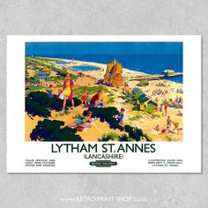 Railway Posters, Travel Posters, St Anne, Town Hall, Vintage Posters, Poster Prints, Retro, Illustration, Poster Vintage