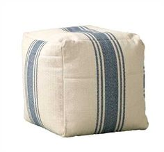 Square Cotton Canvas Pouf w/ Stripes, Blue