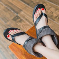 High-quality Bohemia Double Buckle Clip Toe Ankle Folded Flat Flip Flops Roman Sandals Gladiators - NewChic