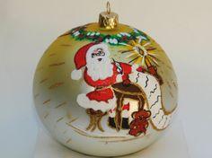 Glass Christmas ornament hand painted Christmas by aniamelisa, $19.90